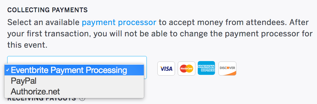 The drop-down menu to select a payment processor is located under Payment processor.