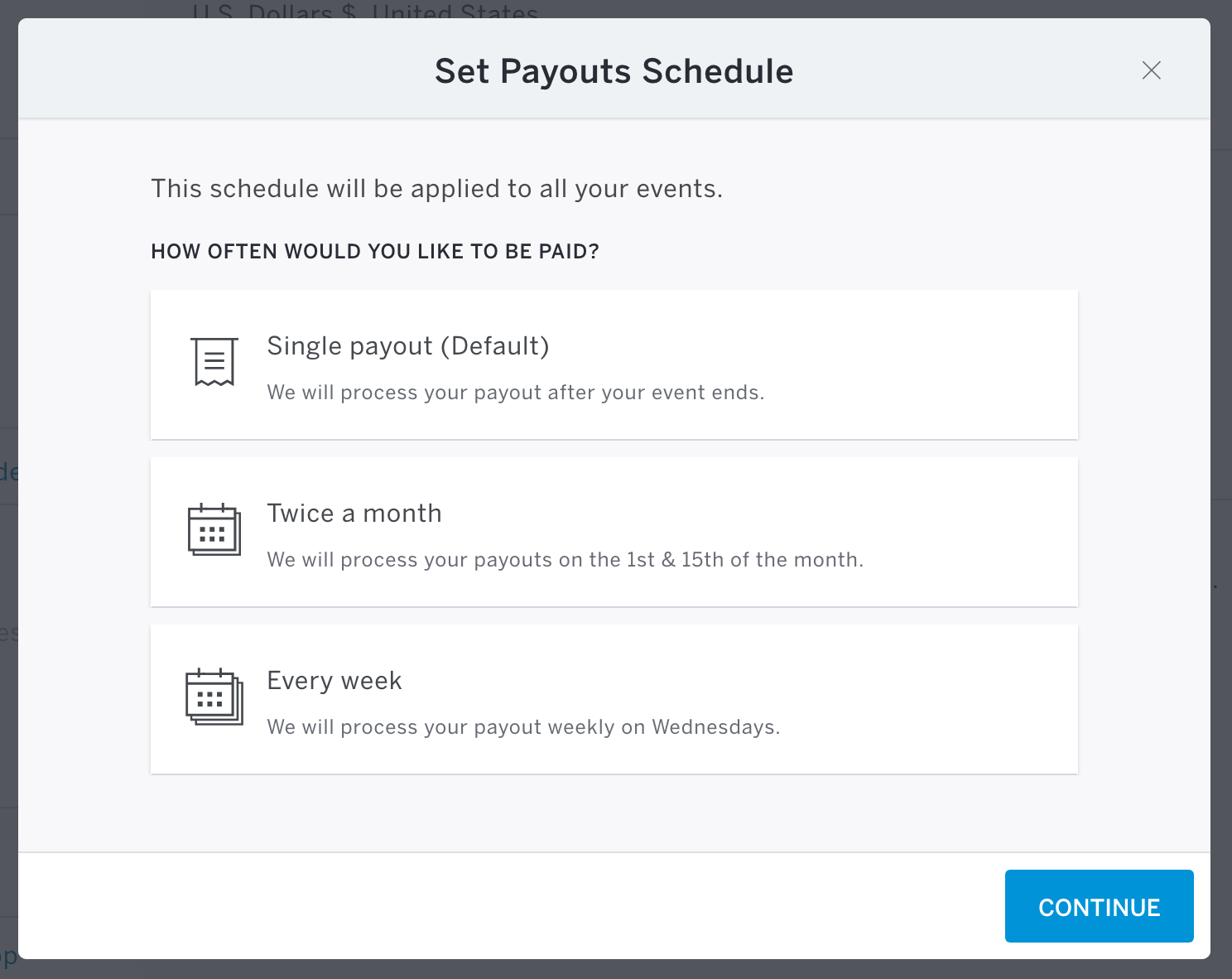 The Apply Now button is located under the Payout Schedule section in the middle of your Payment Options page. From there you'll select a payout schedule and apply.