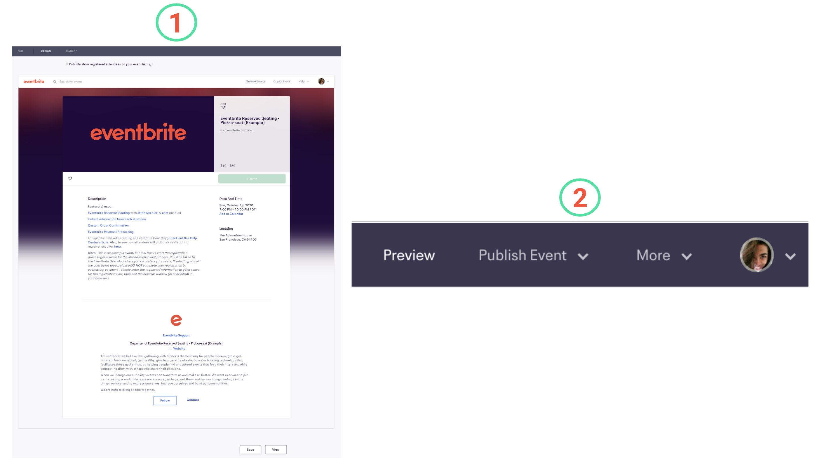 Image highlighting (1) classic versus (2) new event creation experience differences for Design and how it maps to Preview.