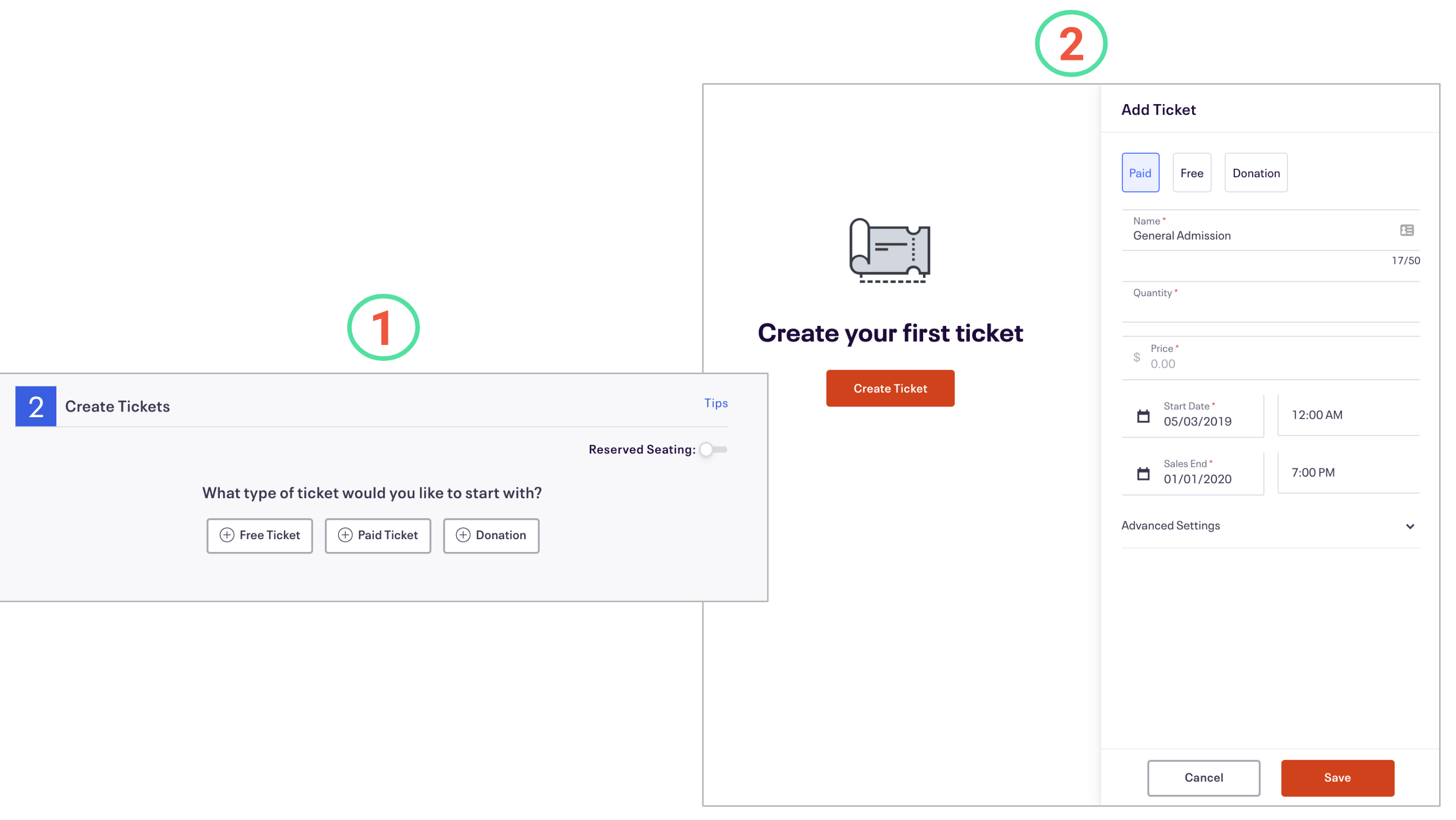 Image highlighting (1) classic versus (2) new event creation experience differences for 2: Create Tickets and how it maps to Tickets.