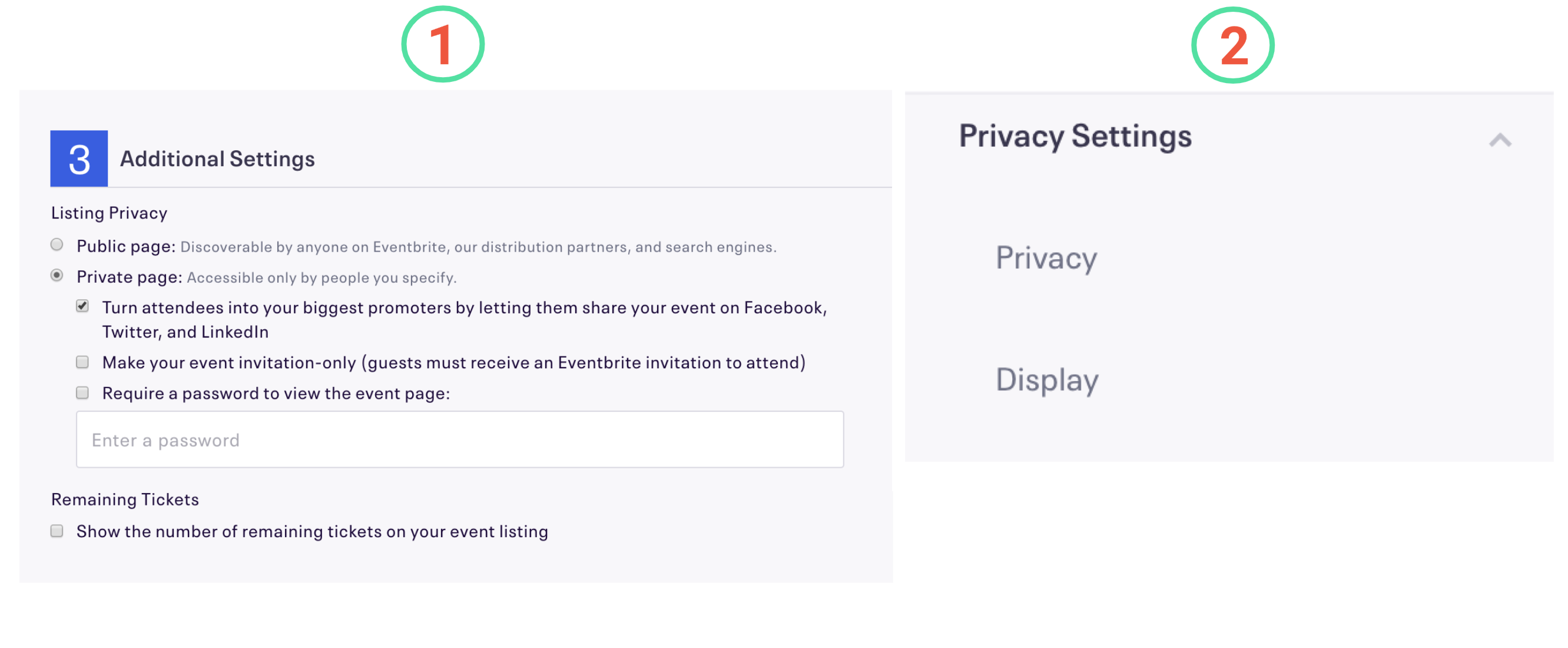 Image highlighting (1) classic versus (2) new event creation experience differences for 3: Additional Settings and how it maps to the new Privacy Settings options.