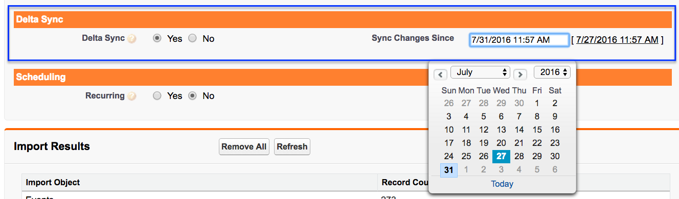 Scheduled Sync is located in the Eventbrite Synchronization section.