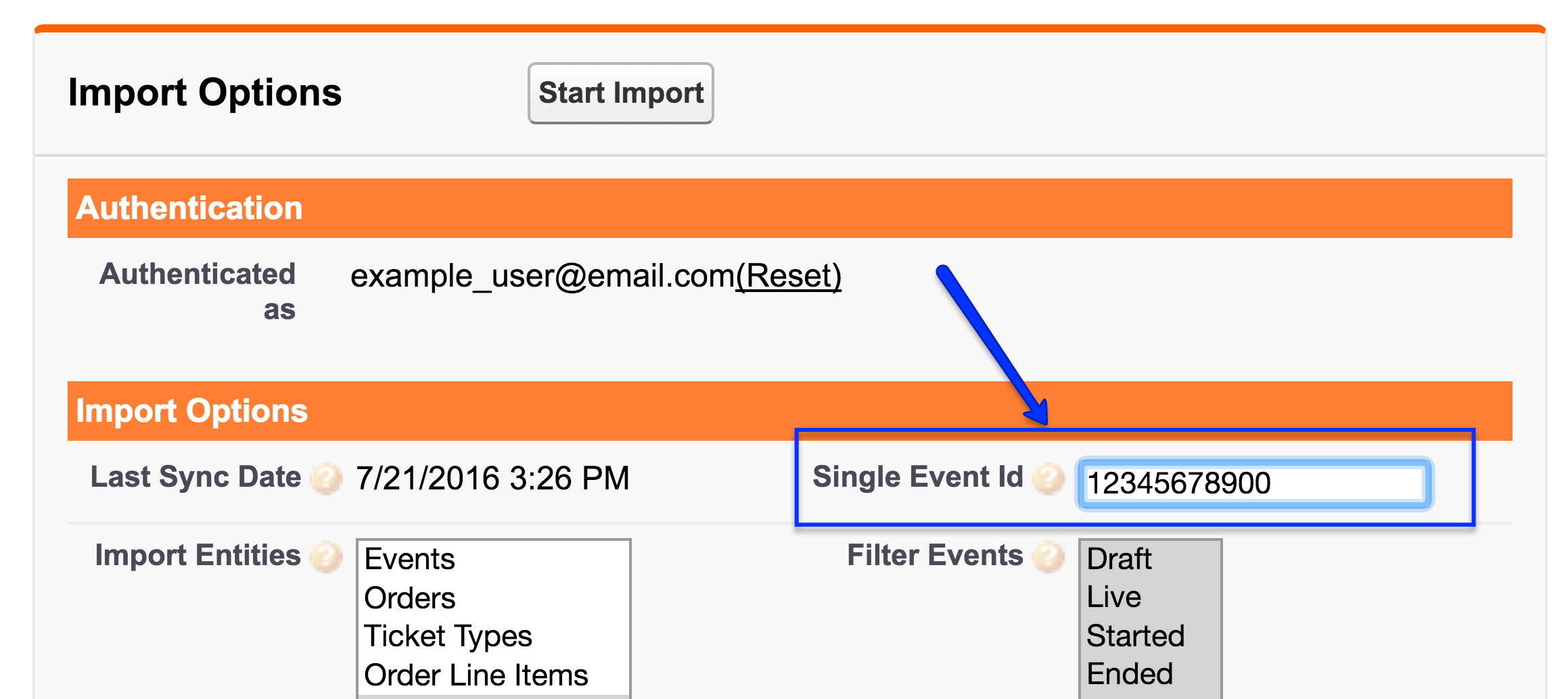 Webhooks is located beneath the Eventbrite Synchronization section.