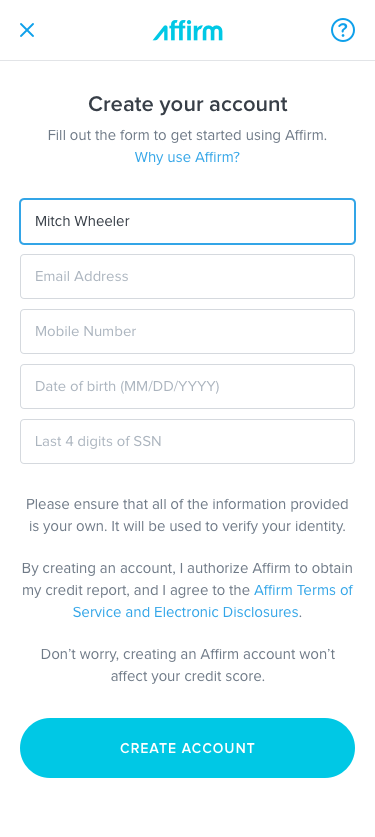 Screenshot of Affirm's account creation page.