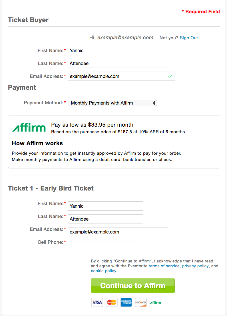 What does the checkout process look like with Affirm? | Eventbrite