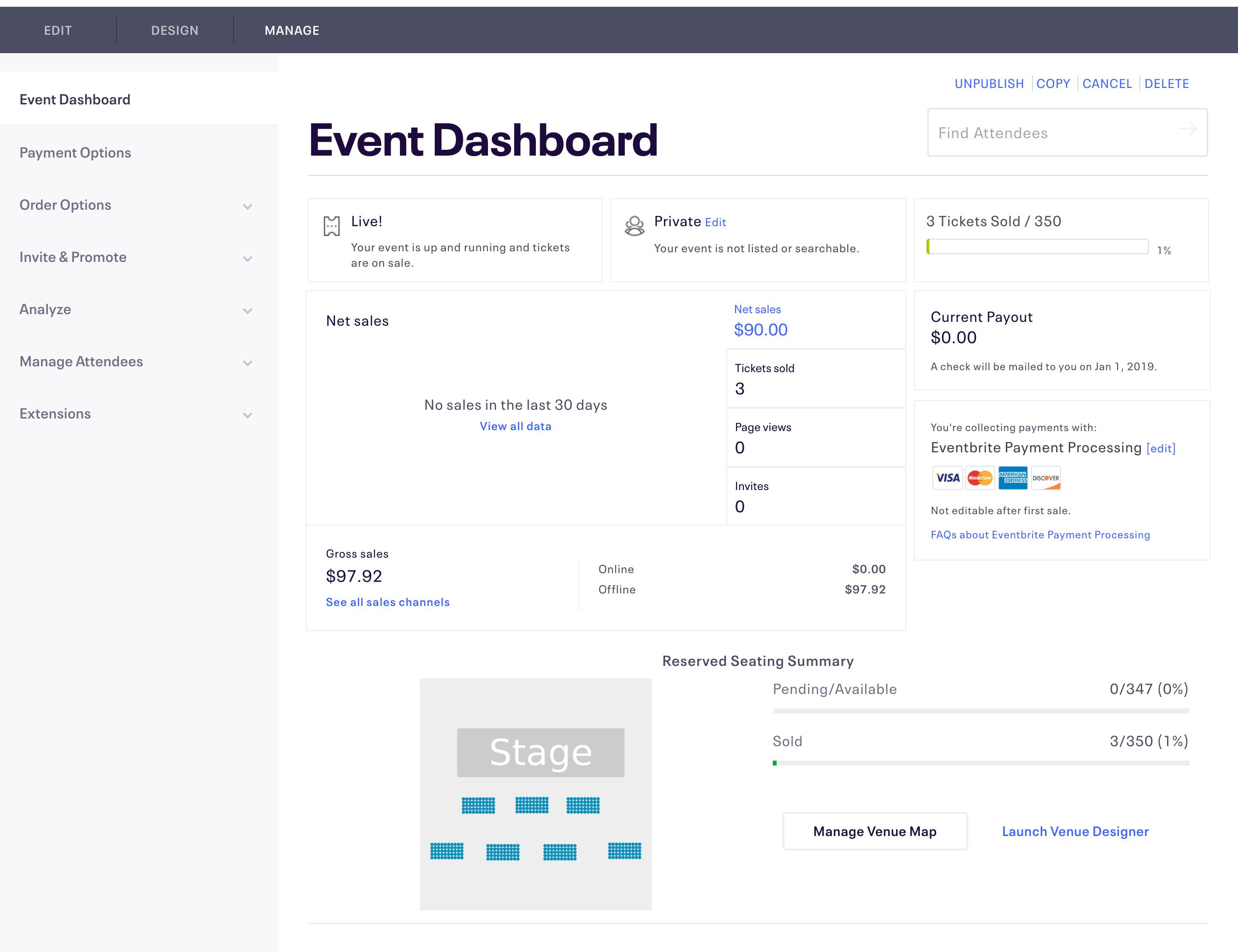 Eventbrite Dashboard Screenshot
