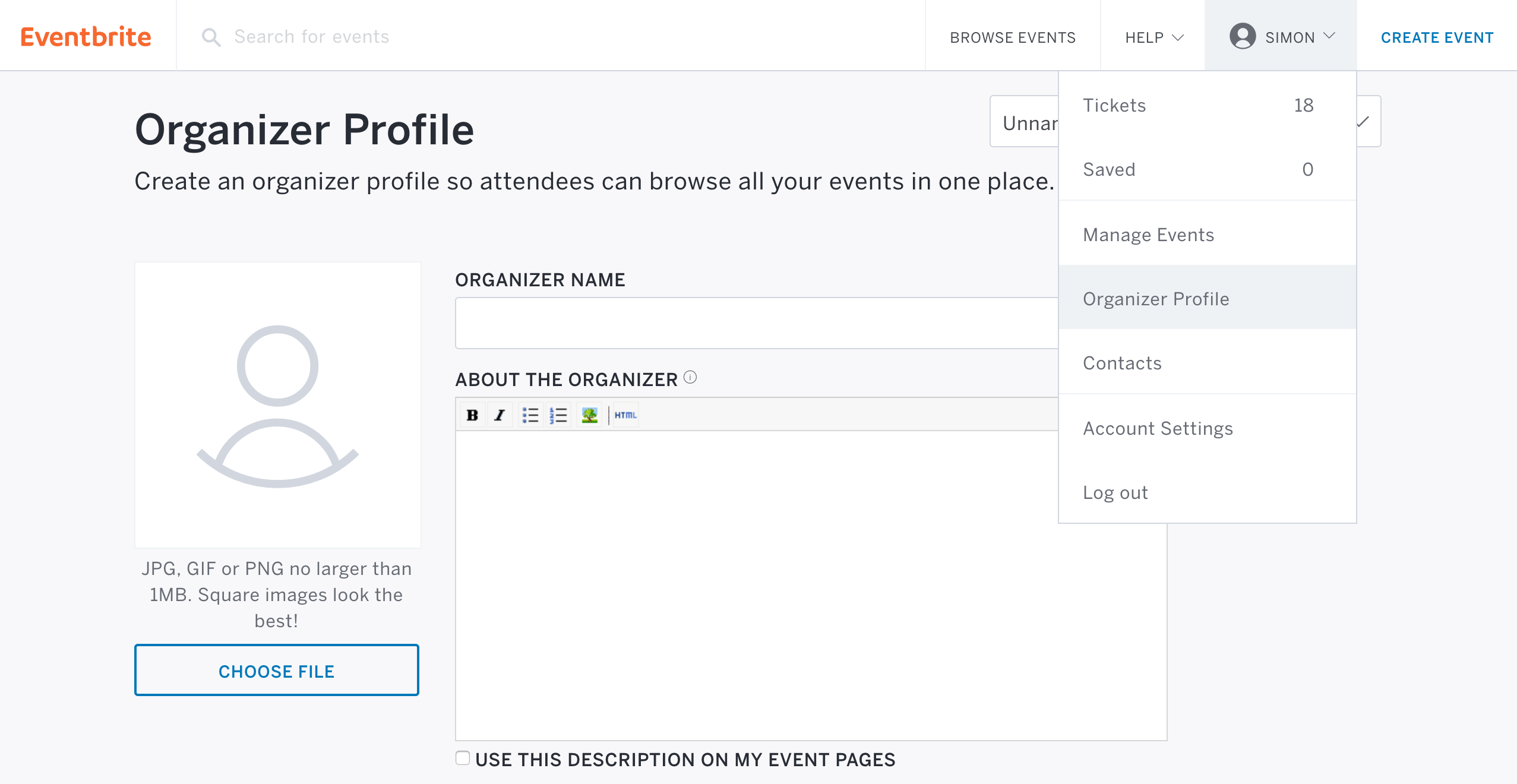 how to set up your organizer profile page eventbrite support go to organizer profile