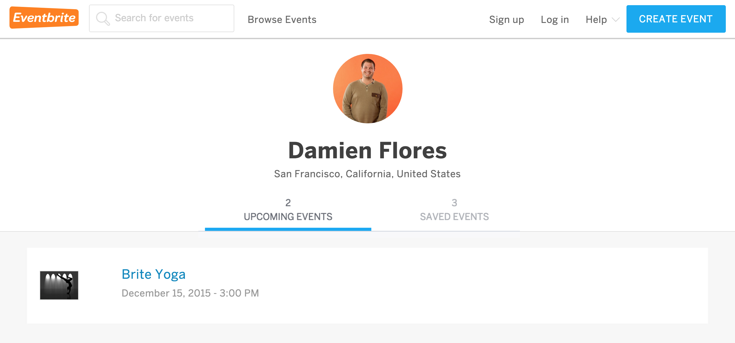 Your Eventbrite profile can only be viewed when logging out, and you can see your updated profile information and upcoming public and saved events in the center of the Tickets page.