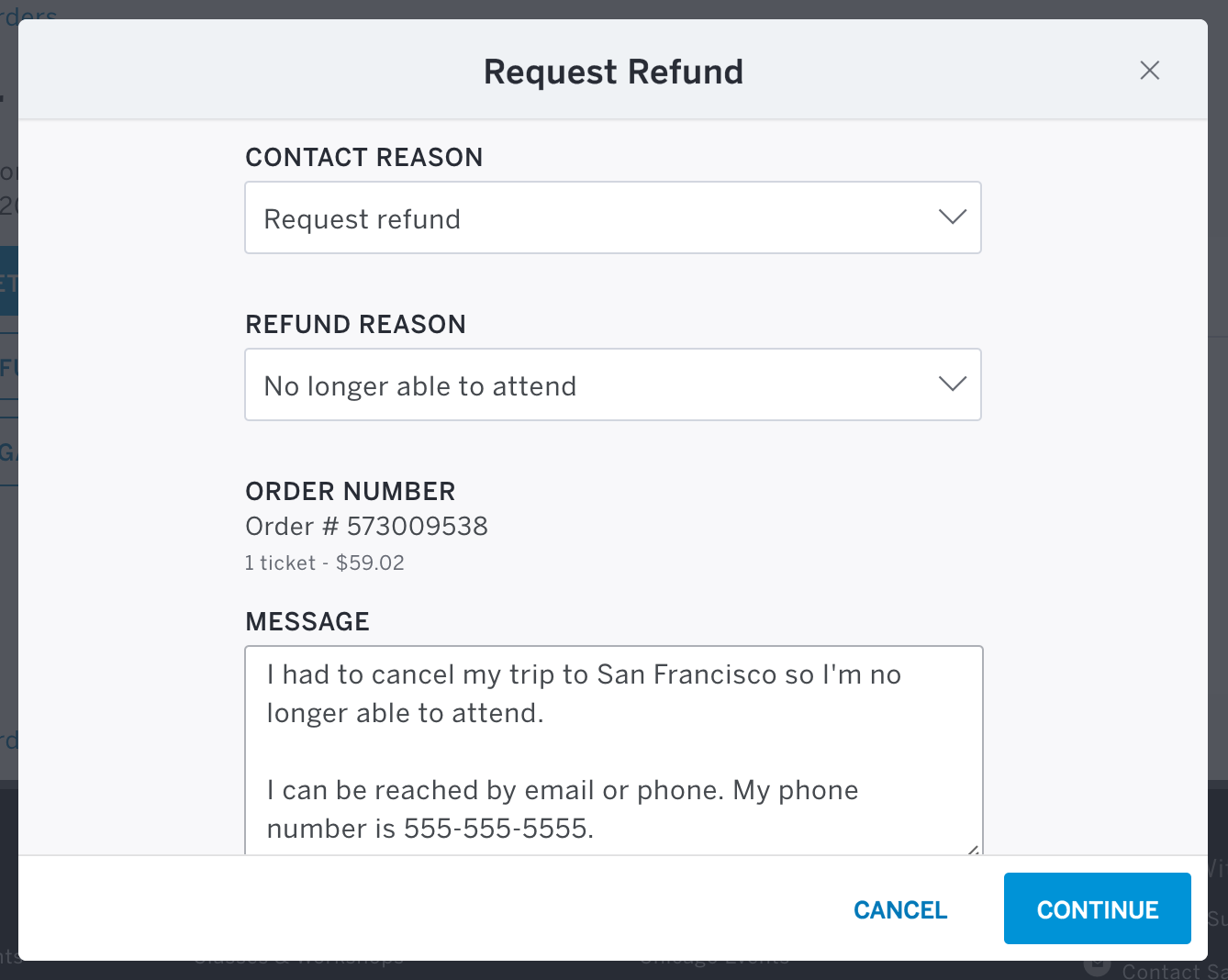 Refund Reason is the 4th field in the form, and the message field is located at the bottom of the form. The Continue button is located in the bottom right corner.