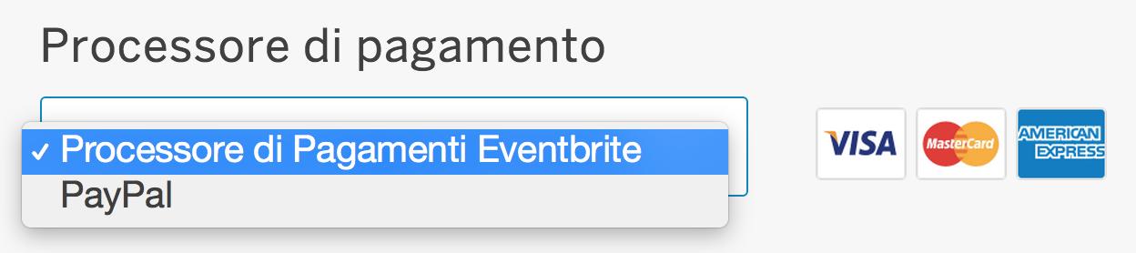 Processore di pagamento eventbrite